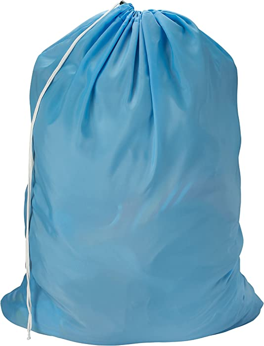 Nylon Laundry Bag - Locking Drawstring Closure and Machine Washable. These Large Bags Will Fit a Laundry Basket or Hamper and Strong Enough to Carry up to Three Loads of Clothes. (Light Blue)