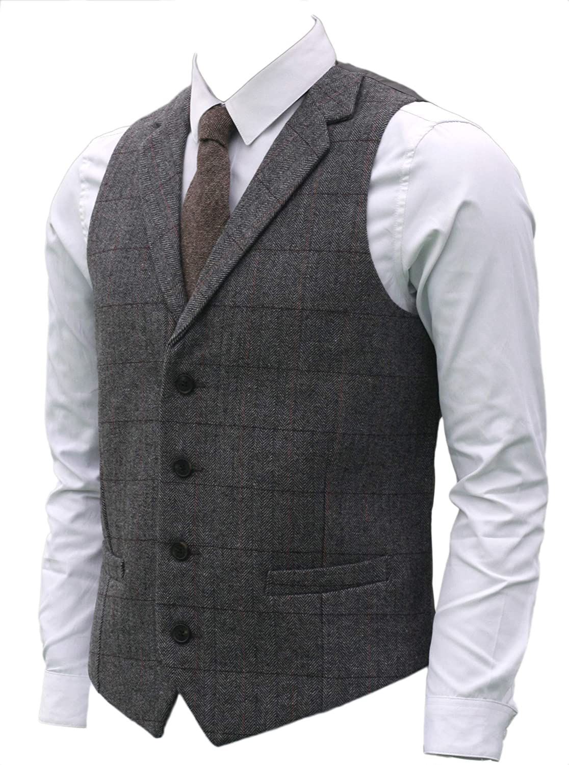 Ruth/&Boaz 2Pockets/ 4Buttons/ Wool/ Herringbone Tweed/ Tailored/ Collar/ Suit/ Vest