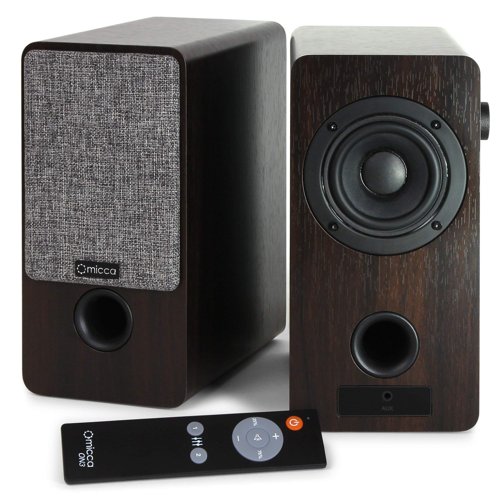 Micca ON3 3-Inch Powered Bookshelf Speakers with Remote Control, 48 Watts (24W x 2) RMS Power, Front and Rear Input Jacks (Renewed)