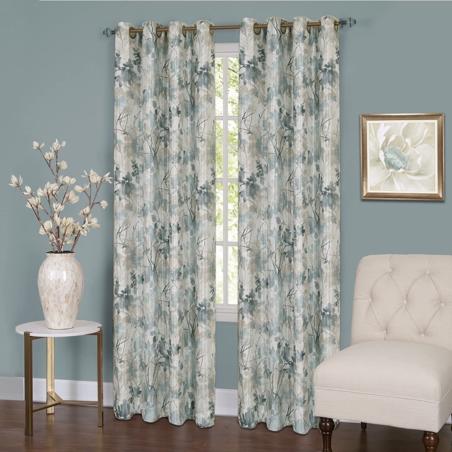 "Achim Home Furnishings TQPN63MS06 , Mist Tranquil Lined Grommet Window Curtain Panel, 50"" x 63"""