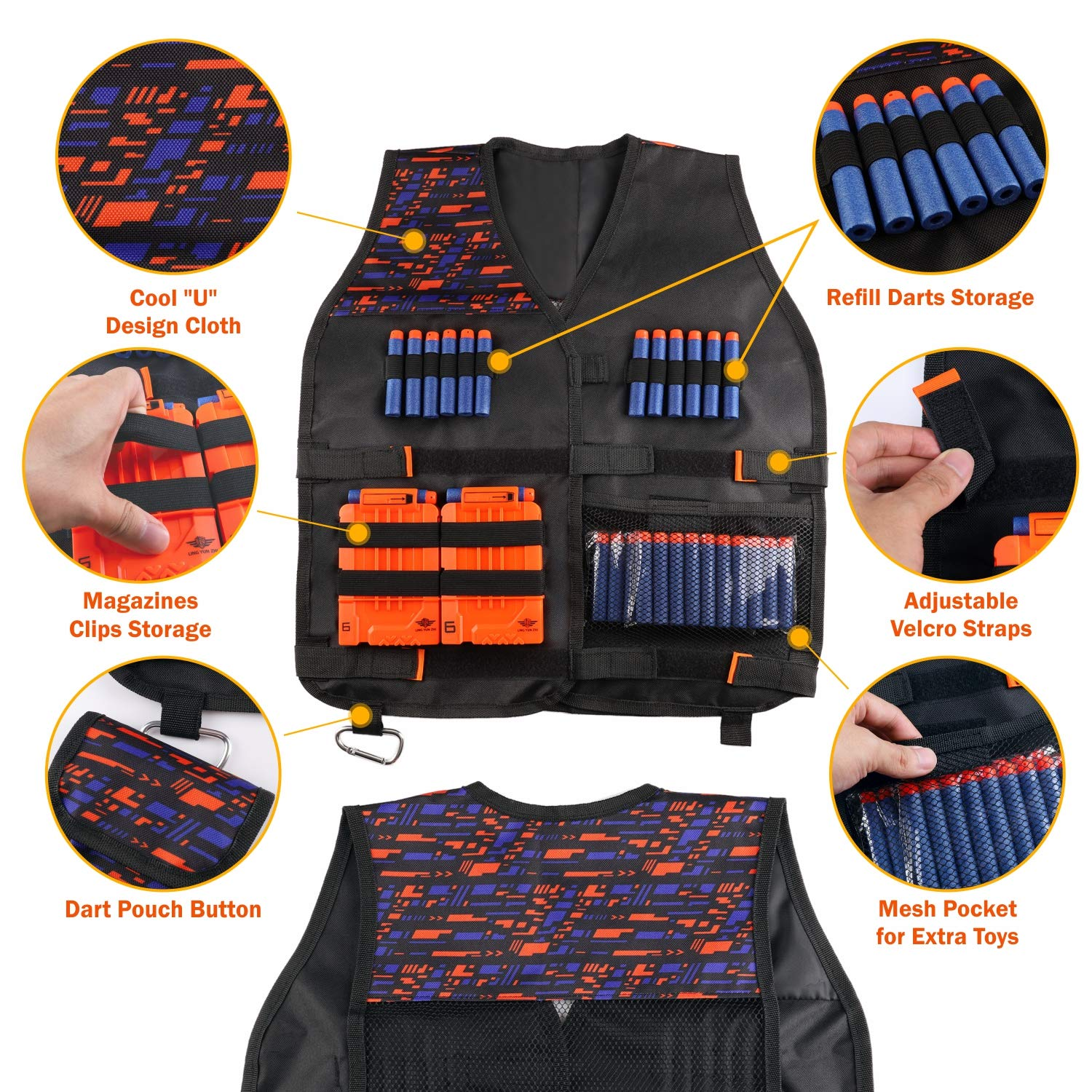 UWANTME Kids Tactical Vest Kit for Nerf Guns N-Strike Elite Series with Refill Darts, Dart Pouch, Reload Clips, Tactical Mask, Wrist Band and Protective Glasses for Boys by UWANTME (Image #2)