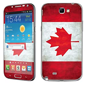 Samsung [Galaxy Note 2] Skin [NakedShield] Scratch Guard Vinyl Skin Decal [Full Body Edge] [Matching WallPaper] - [Flag Canada] for Samsung Galaxy [Note 2]