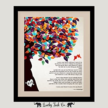 10 Year Anniversary Personalized 8x10 Gift For Husband Wife EE Cummings Poetry I Carry Your Heart