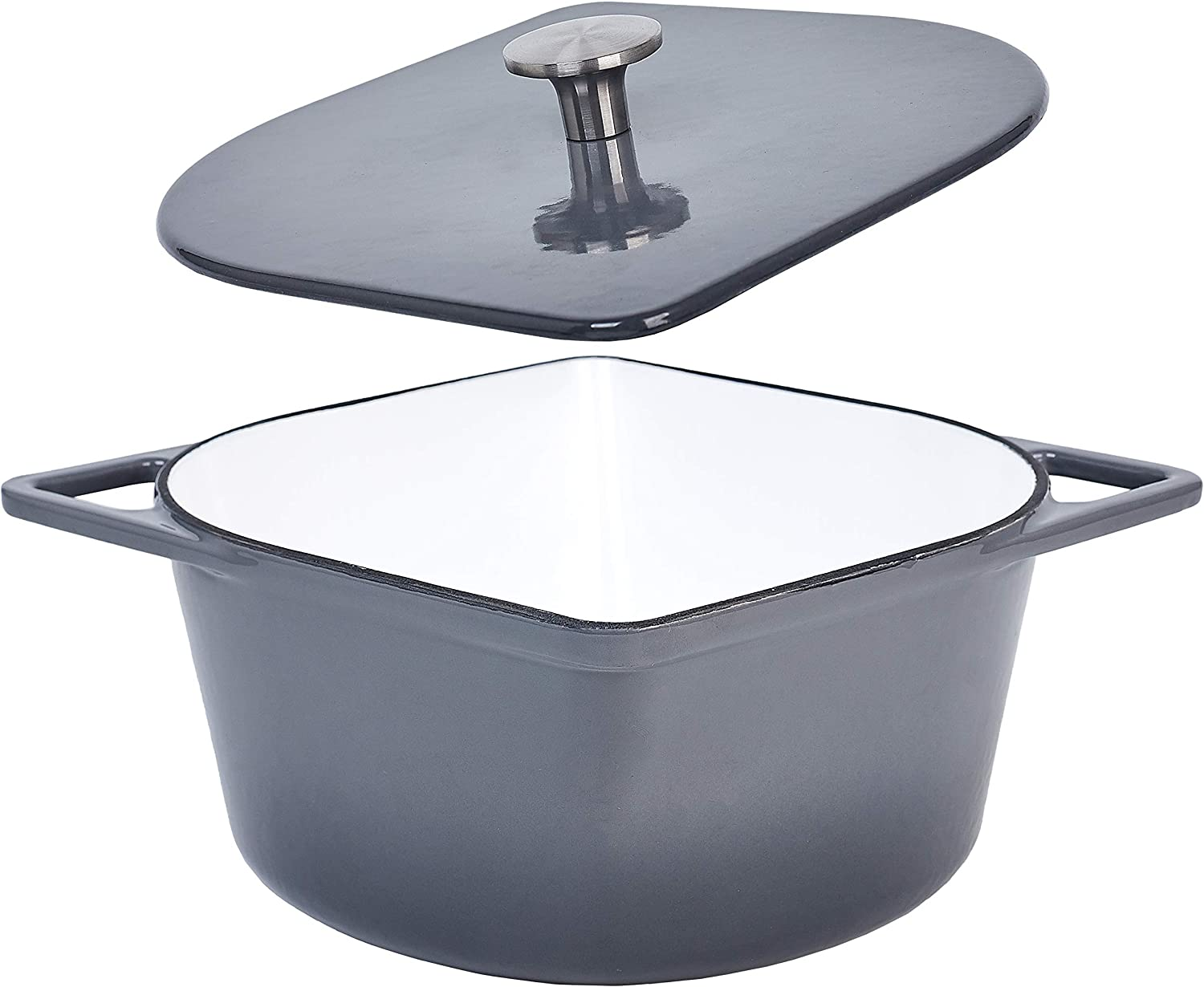 3 Quart Cast Iron Enameled Dutch Oven Modern Squoval Shaped Design, with Stainless Steel Knob, Grey
