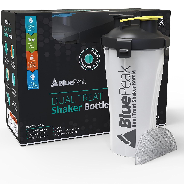 BluePeak デュアルトリートプロテインシェイカーボトル 28オンス 2個パック Hydraカップ ミキシンググリッドテクノロジー。 同じボトルに個別に保存された2つのドリンクをお楽しみください。 BPAフリー。 B07FPV4CDW