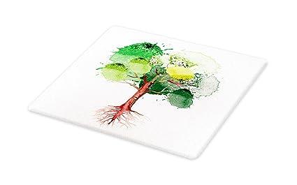 64ea36dee384e Amazon.com: Lunarable Tree of Life Cutting Board, Tree Watercolors ...