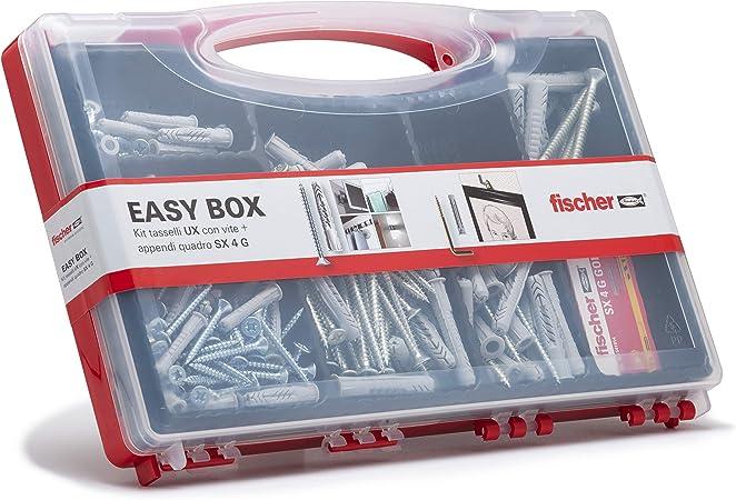 Fischer 513433 Kit Easy Box tacos y tornillos surtidos para montaje sobre Murature llenos, Gris, Juego de 136 unidades)