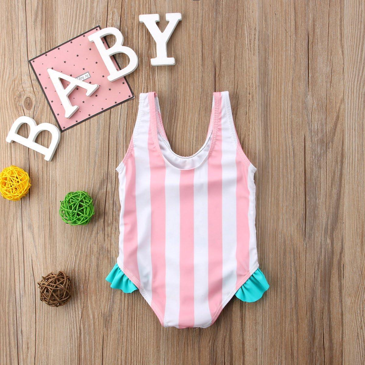 Newborn Baby Girl Floral Watermelon Swimsuit Striped Bathing Suit Bikini Cute Swimwear Baby Girls Beach Wear