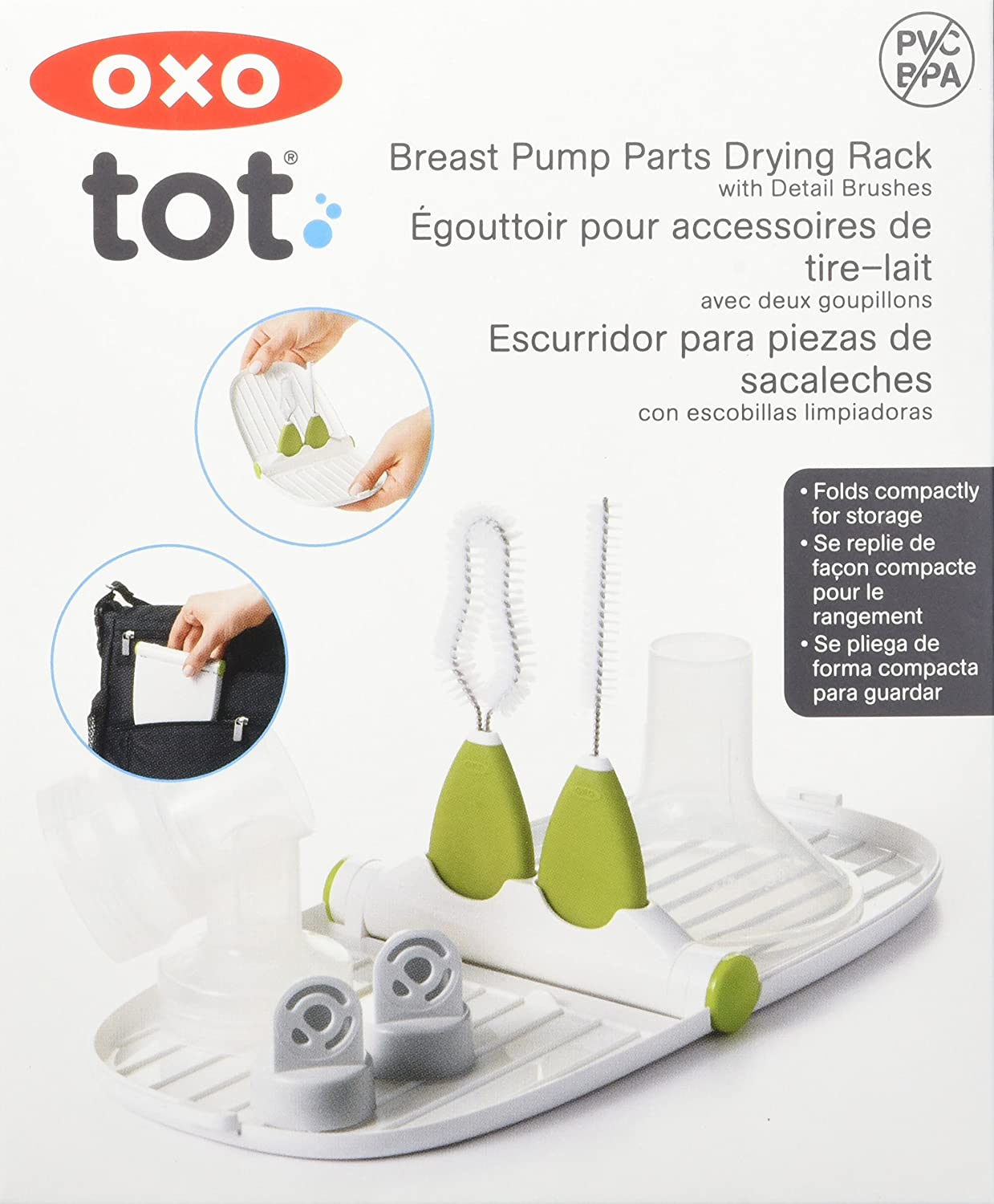 Oxo Tot Breast Pump Parts Drying Rack With Detail Brushes Clear