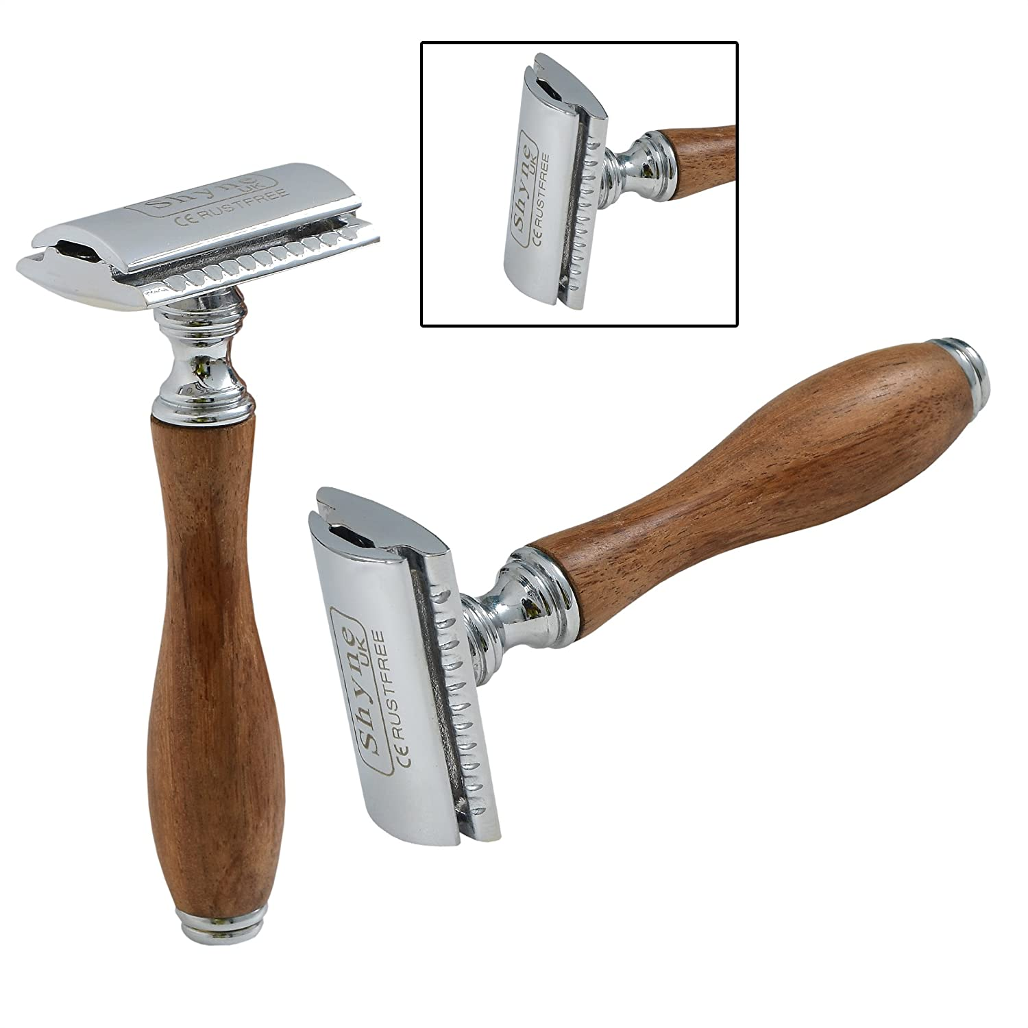 Wooden Handle Safety Razor double edge shaving blades shaver NORMAN INTERNATIONAL