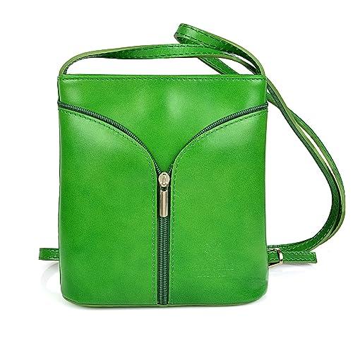 e8e2006f5769d Vera Pelle Handtaschen Italien Echt Leder Schultertasche Frauen Damen  Tasche Handtasche Ital Bag (Grün)