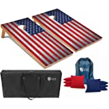 Tailgating Pros Cornhole Boards - 4'x2' Cornhole Game w/Carrying Case & Set of 8 Corn Hole Bean Bags w/Tote