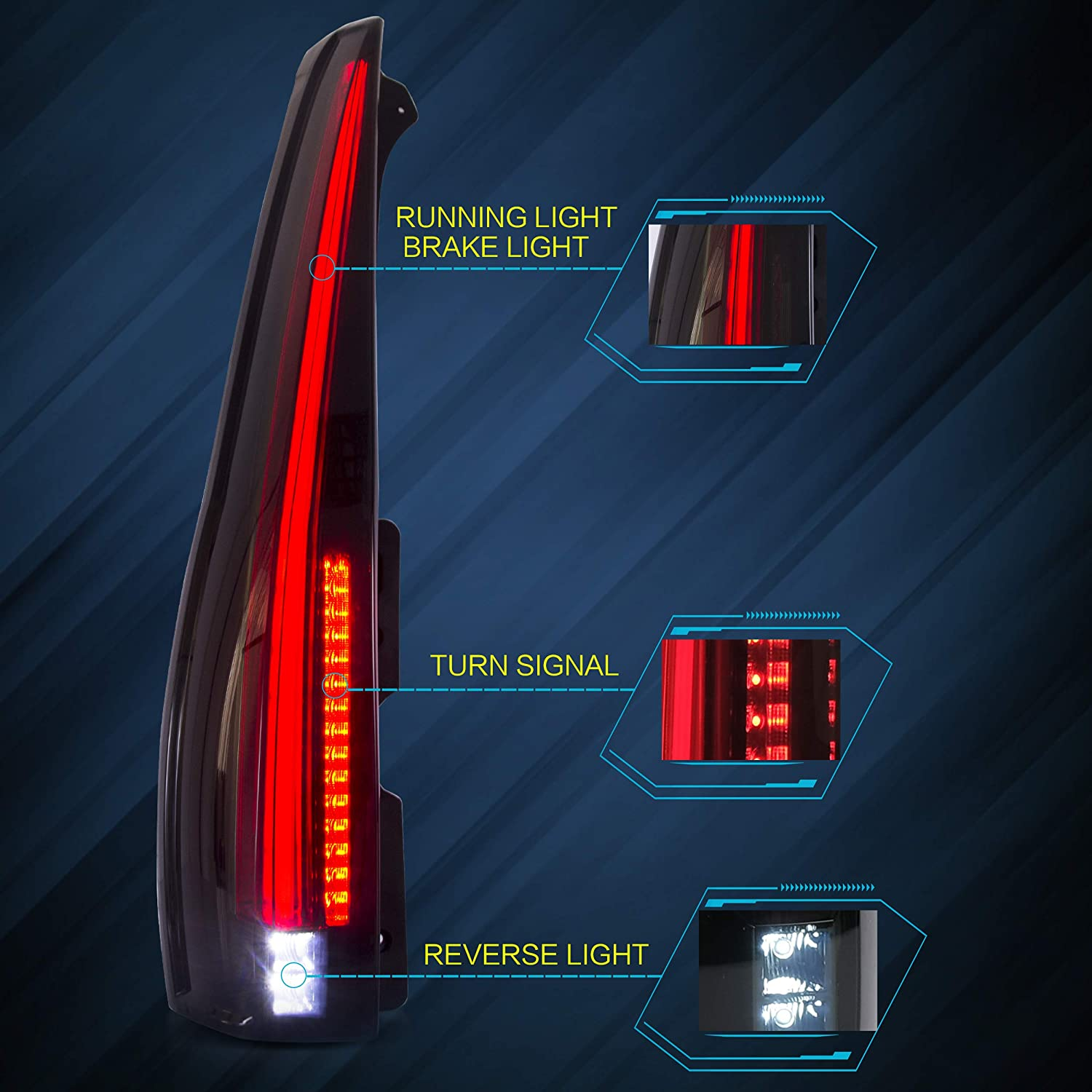 Plug-and-Play,Smoked LED DRL light Reverse Lights VLAND Tail Lights Assembly Compatible for Escalade LED Taillights 2007-2014 Taill Lamp assembly with Turn Signal