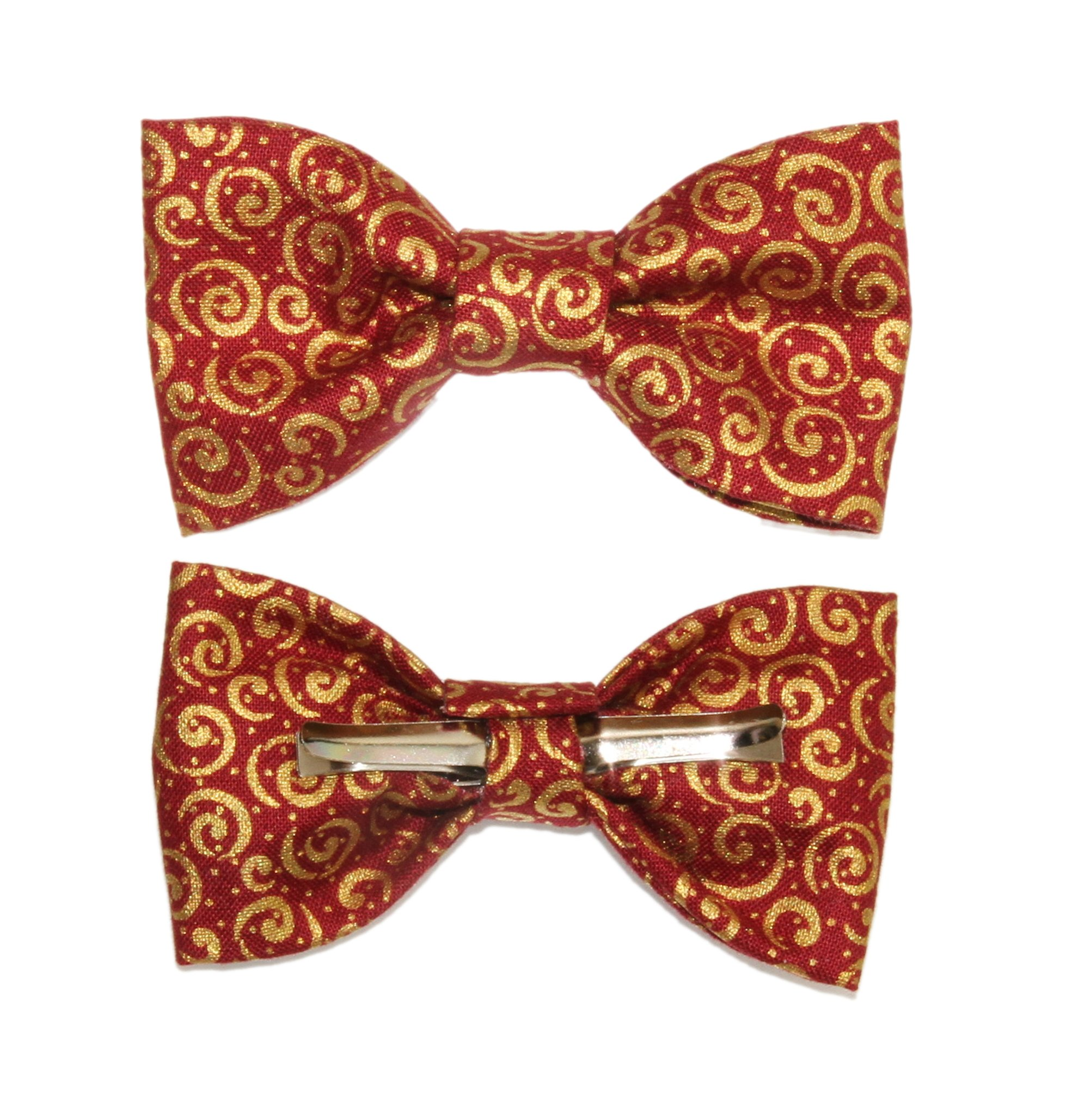 Toddler Boy 4T 5T Wine Red With Gold Scrolls Clip On Cotton Bow Tie Bowtie