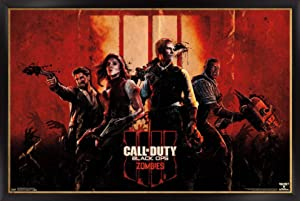 """Trends International Call of Duty Ops 4-Zombie Key Art Wall Poster, 22.375"""" x 34"""", Black Framed Version"""