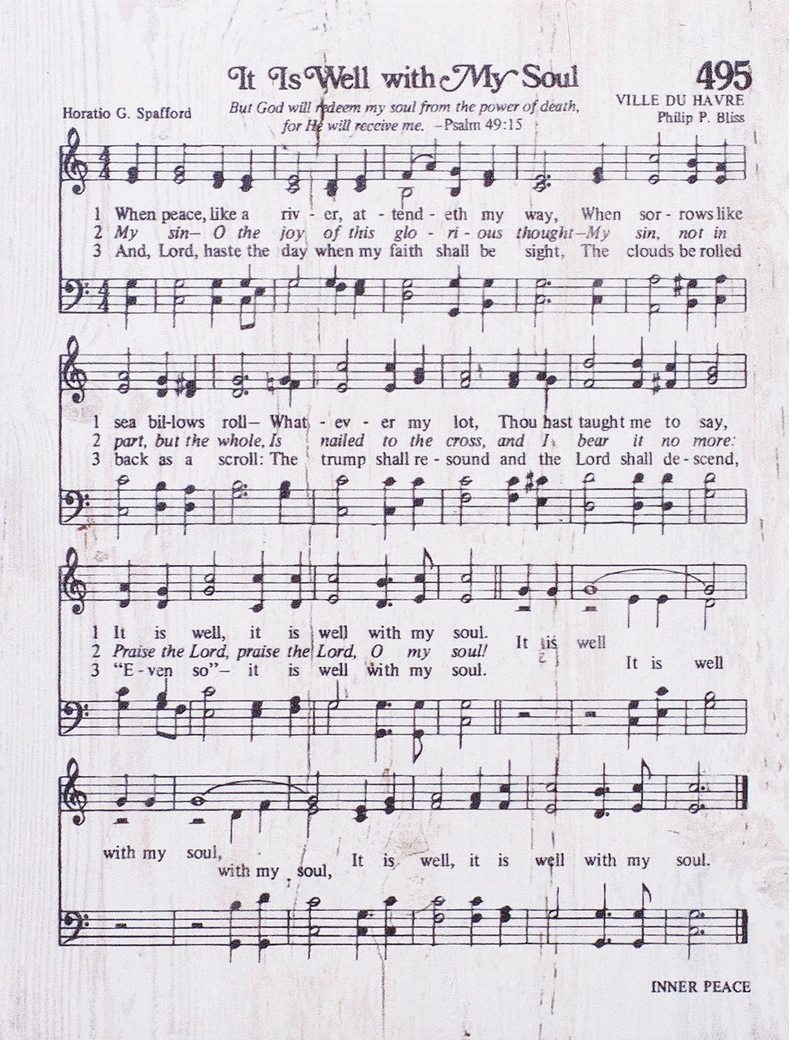 P  GRAHAM DUNN It is Well with My Soul Sheet Music White 6 x 7 Inch Solid  Pine Wood Heavenly Hymn Wall Plaque