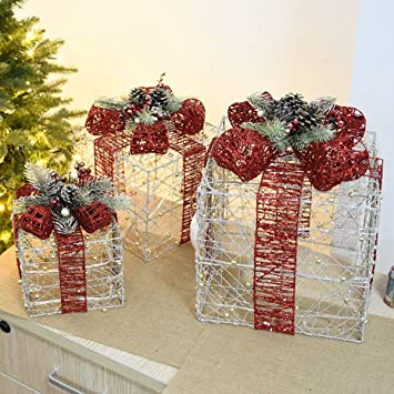 Brillo De Hierro De Navidad Decoración De Paquete De Caja De Regalo De Navidad Decoración De