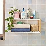 SoBuy® FRG27-WN Etagère murale salle de bain toilettes, Meuble de Rangement Cuisine, 2 niveaux avec 2 crochets