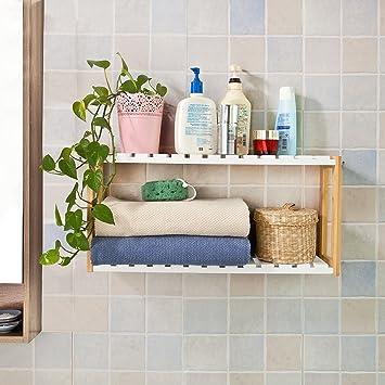 SoBuy® FRG27-WN Etagère murale salle de bain toilettes, Meuble de ...