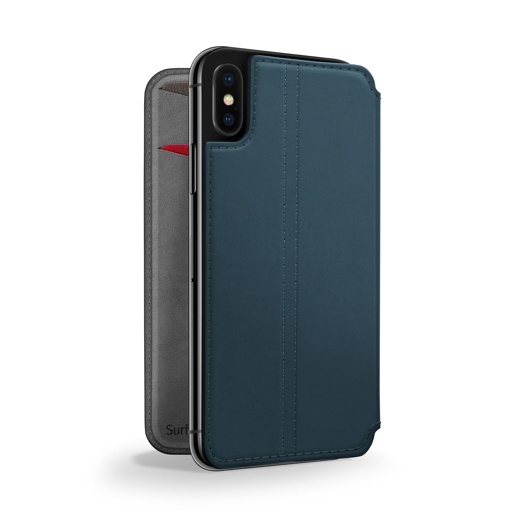 Twelve South SurfacePad for iPhone X | Slim luxury leather folio with wake/sleep functionality (deep teal) by Twelve South