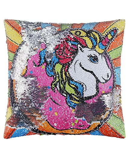 Amazon Com Ankit Mermaid Unicorn Sequin Pillow Reversible Pillow
