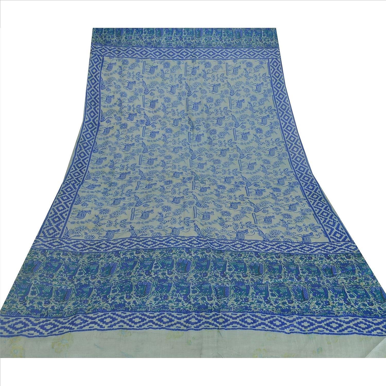 100% Pure Tussar Silk New Long Stole Dupatta Cream Printed Shawl Wrap Veil