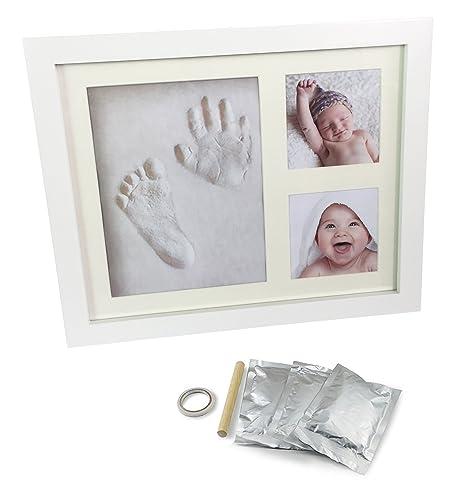 Marco para Huellas de Bebe de Mano y Pie con 2 fotos. Marco de madera de color blanco y cristal de seguridad
