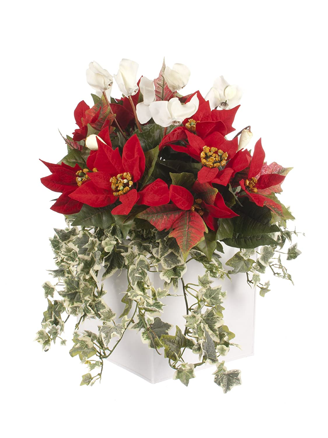 Closer2Nature Artificial Swiss Cheese and Arrowhead Vine Plant Display in a 20cm Gloss White Square Planter FOLICUBE