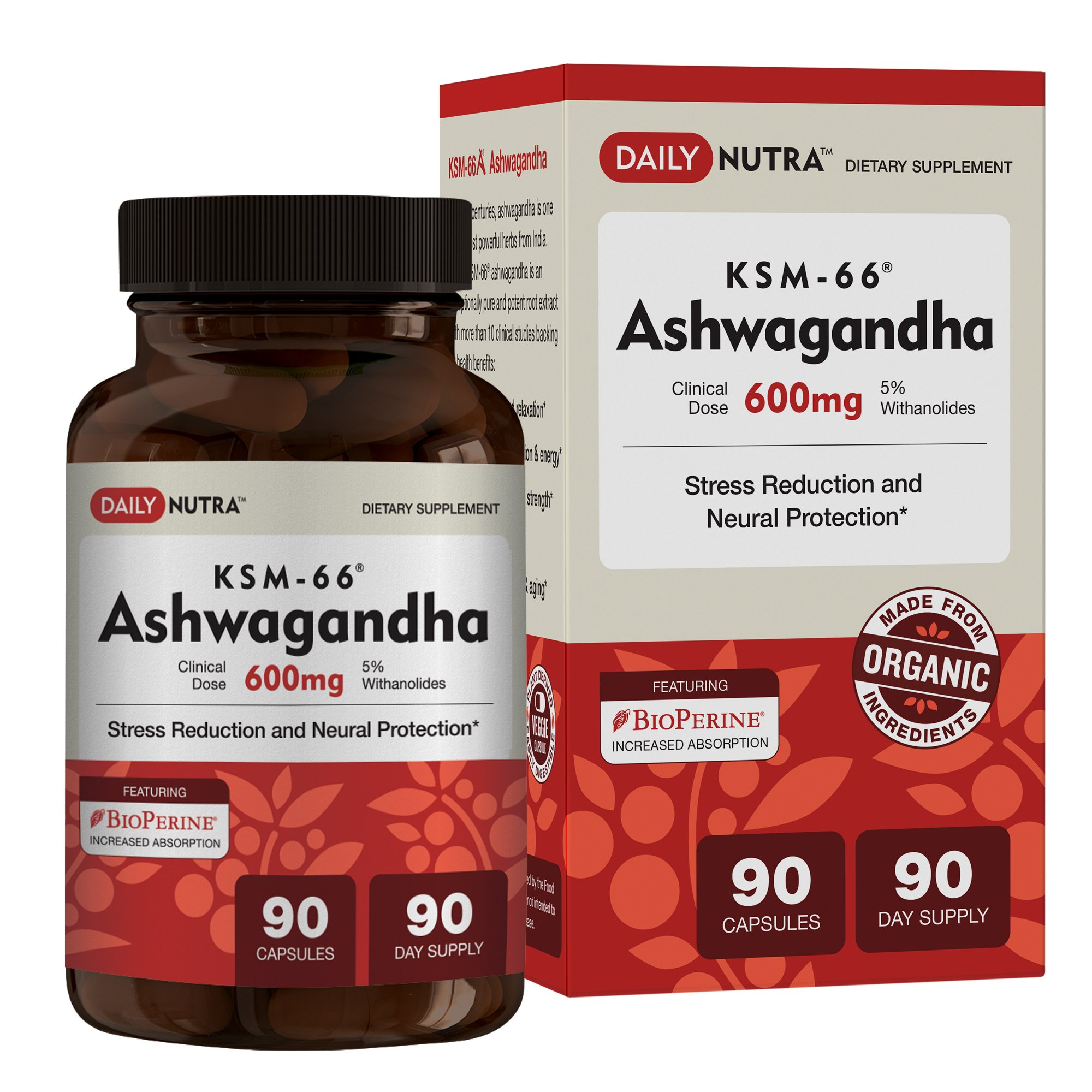 KSM-66 Ashwagandha by DailyNutra – 600mg Organic Root Extract – High Potency Supplement with 5% Withanolides | Stress Relief, Increased Energy and Focus (90 Capsules)