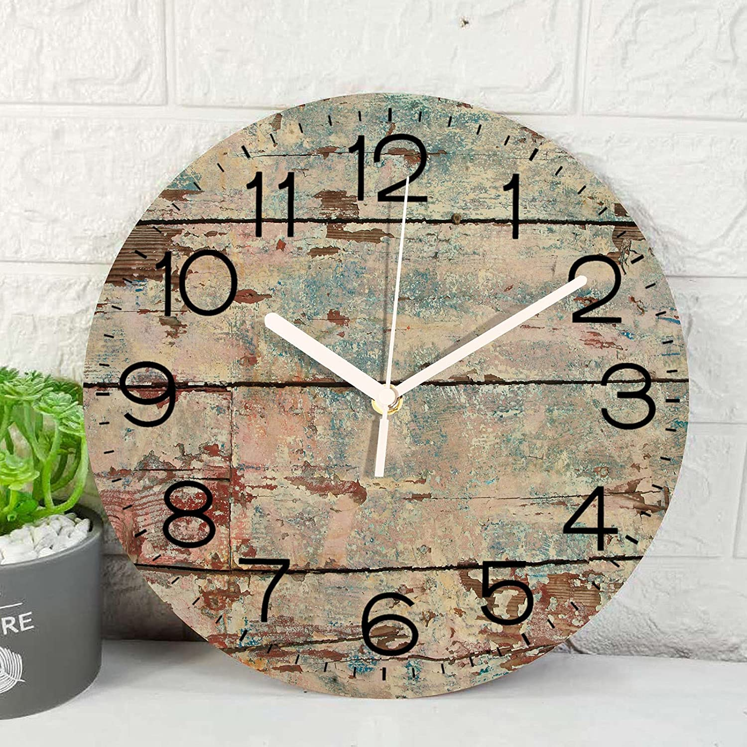Wooden Wall Clock Silent Non-Ticking , Beach Vintage Wood Round Rustic Coastal Wall Clocks Decor for Home Kitchen Living Room Office, Battery Operated(12 Inch)