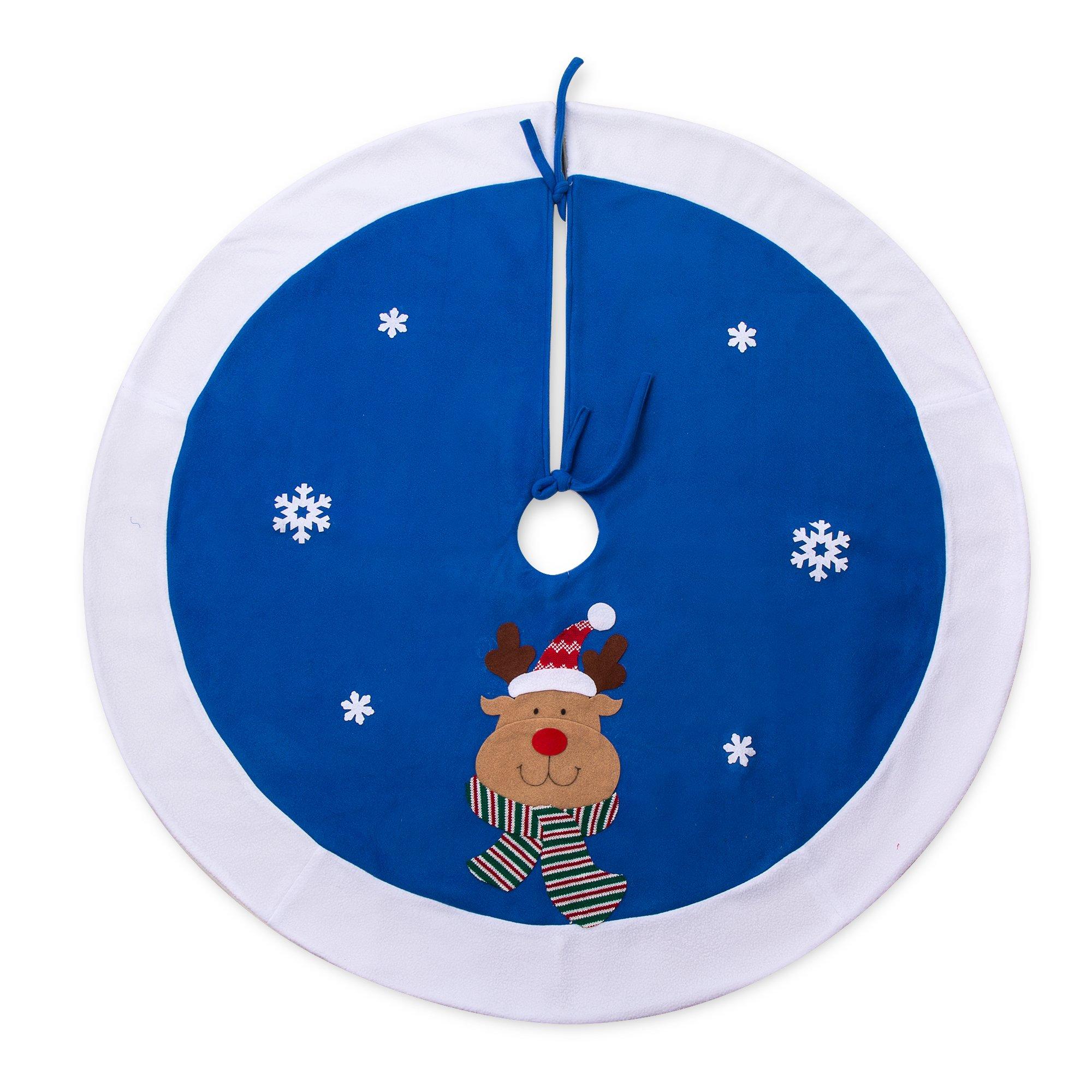 iPEGTOP 42'' Reindeer Christmas Tree Skirt - Holiday Christmas Decoration Snowflake - Blue and White Rim
