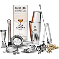 Cocktail Shaker Set by Sidecar Mixology: 16 Piece Premium Silver Stainless Steel Bartending Kit for the Home Bar - Mix a…