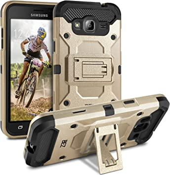 BEZ® Coque pour Samsung Galaxy J3 [2015/2016], Etui Housse Samsung Galaxy J3 2016 Antichoc Militaire Heavy Duty Shock Proof Survivor - Or