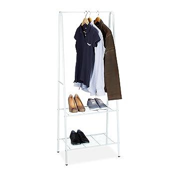 Kleiderständer Weiß Metall relaxdays kleiderständer mit 2 ablagen metall