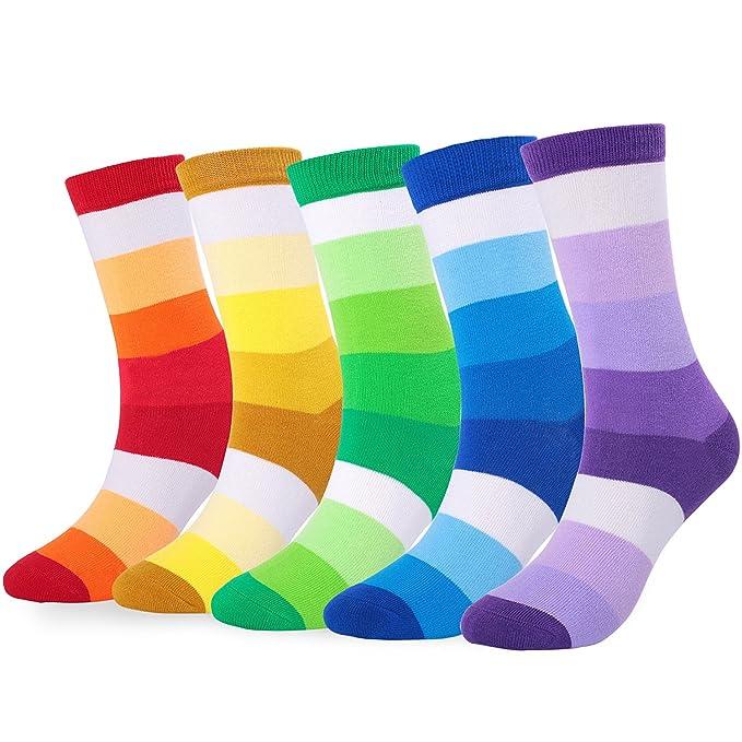 65daceaa4b5 WEILAI SOCKS 6 Pack Mens Hit Color Geometry Cotton Print Luxury  Antibacterial Casual Dress Socks (