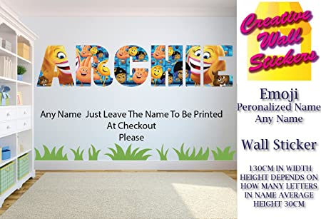 Emoji Wall Art Sticker Any Name Wall Sticker Children\'s Bedroom Wall ...