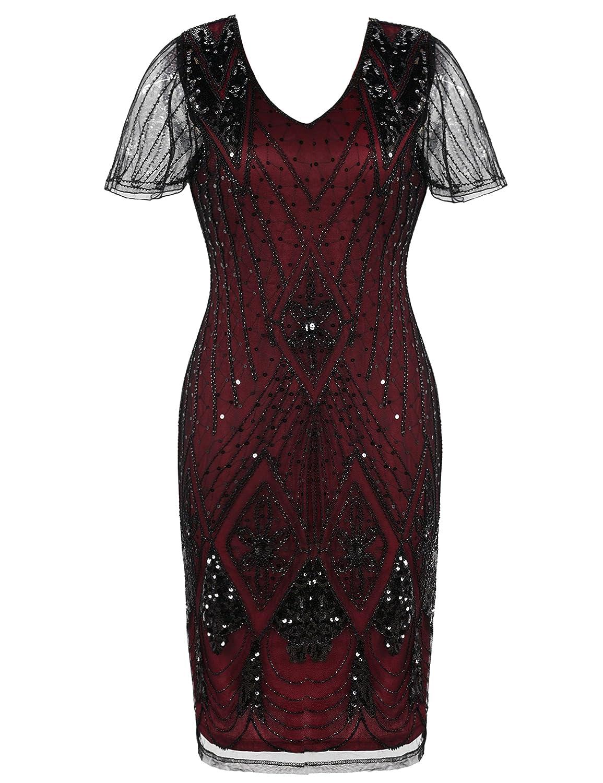 PrettyGuide Damen Charleston Kleid 20er Jahre Pailletten Gatsby ...