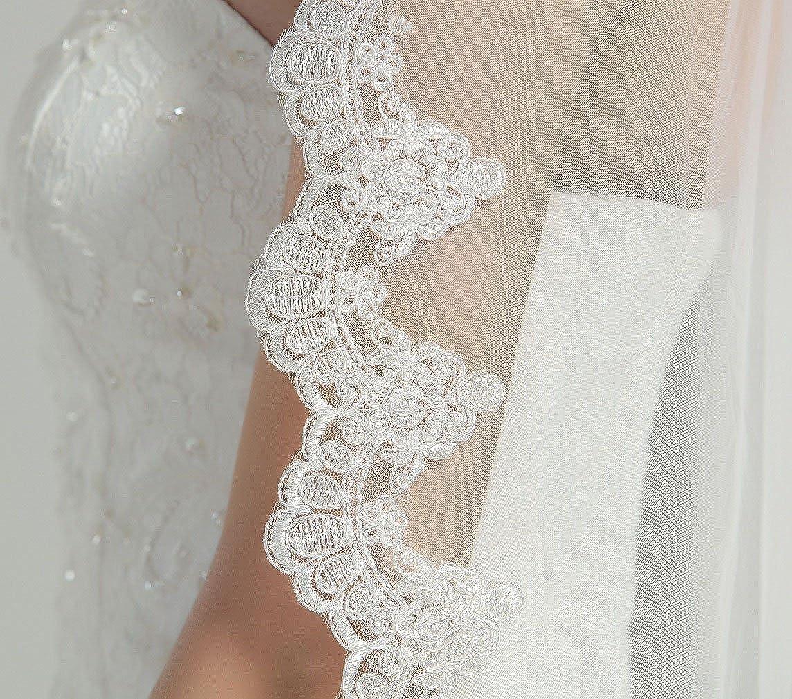 Wedding Bridal Veil with Comb 1 Tier Lace Applique Edge Fingertip Length 41 Veil-82-Ivory