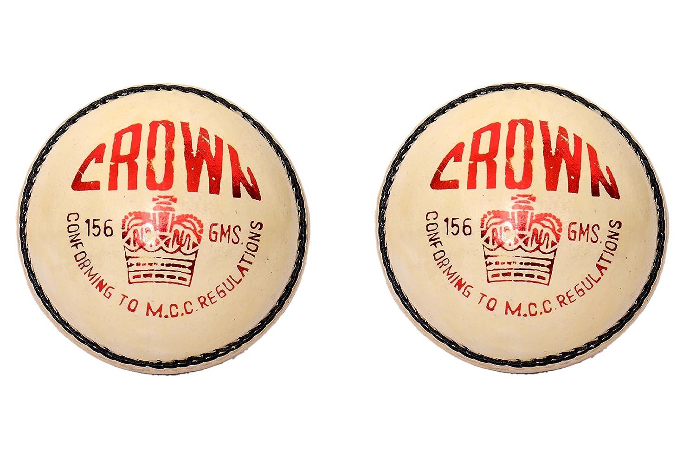CW Lot de 2Couronne Blanc 4Cut pièce Sports Balle de cricket fabriqué à partir de cuir tanné alun Full cousu à la main 20–20matchs sportifs Régulation de la MCC Approuvé 5.5G Po