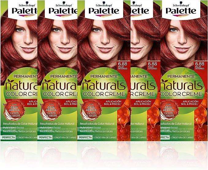 Schwarzkopf Palette Naturals Color Creme - Tono 6.88 cabello Rojo Intenso (Pack de 5) - Coloración Permanente – Perfecta cobertura de canas – Colores ...