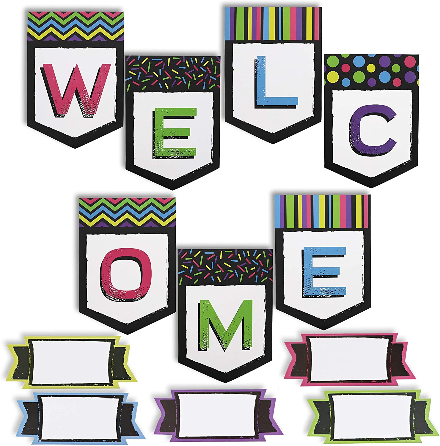 Welcome Classroom Banner with Name Tags (55 Pieces)