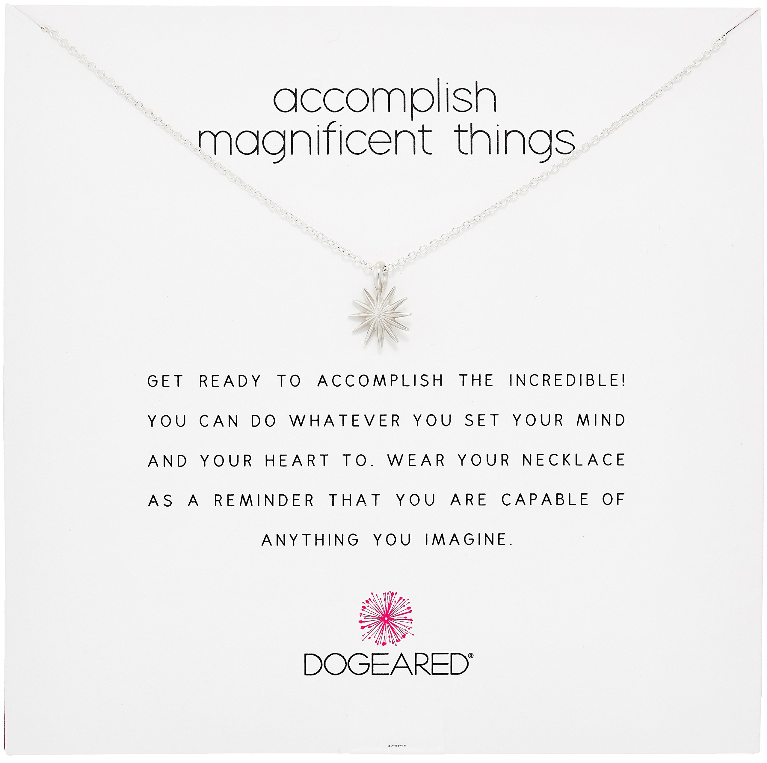 Dogeared Reminders- Accomplish Magnificient Things Sterling Silver Starburst Charm Necklace, 16''+2'' Extender