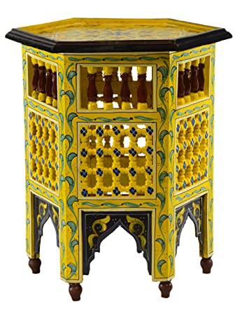 Moroccan Handmade Wood Table Side Moucharabi Delicate Hand Painted Yellow