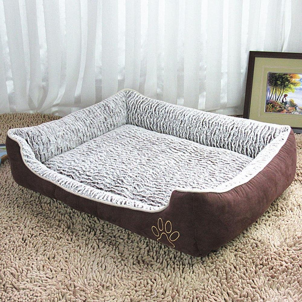 BiuTeFang Pet Bolster Dog Bed comfort velluto ondulato Dog Kennel Pet Litter Doggy letto cane lavabile, colore rosa