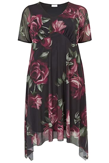 1f8e51bb2f5589 Yours Clothing Women's Plus Size London & Berry Floral Midi Dress Size  Petite / 16P Black