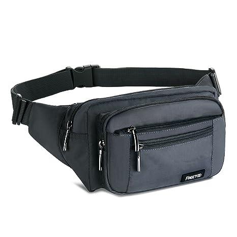 8237bad912 FREETOO Marsupio con 5 Tasche Marsupio Bum Bag cintura regolabile singola  spalla per escursionismo casuale bicicletta