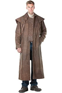 Amazon.com: Leather Duster Coat with Zipout Liner and Leg-Straps ...
