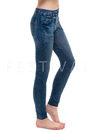 88fe01e626f42 Jeggings - Ripped Jeans Effect Leggings - Blue Jean Leggings - Size 6:  Amazon.co.uk: Clothing