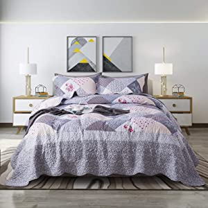 Travan 3-Piece Queen Quilt Sets Lightweight Reversible Bedspread Oversized Coverlet with Shams Bedding Set