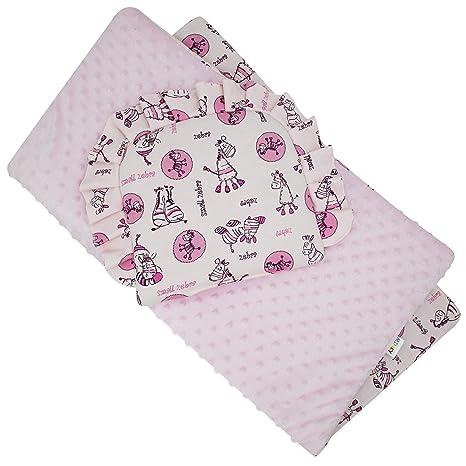 BlueberryShop Minky Juego de fundas para bebé | reversible Edredón Con Almohada Para Recién Nacidos |